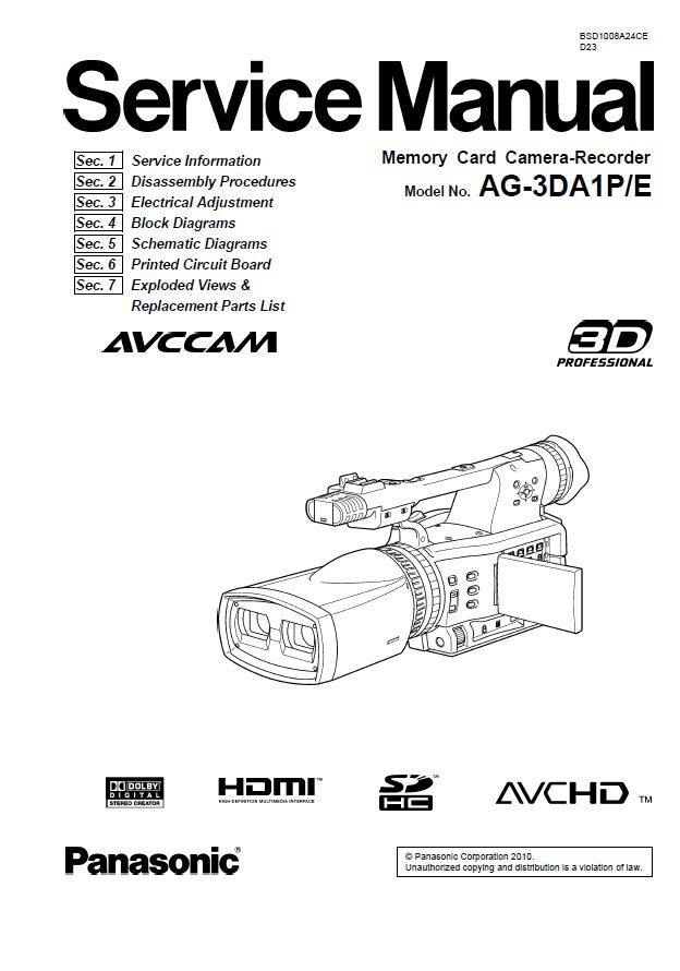 Panasonic AG-3DA1 Camcorder Service Manual and Repair