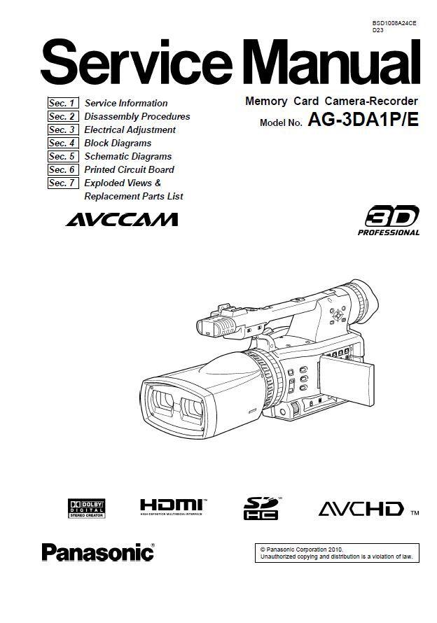 Panasonic AG-3DA1 Camcorder Service Manual and Repair