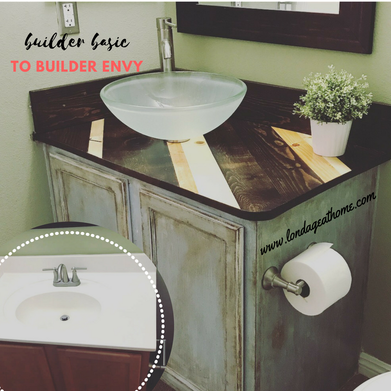 A Wooden Countertop Bathroom Vanity With Images Painted