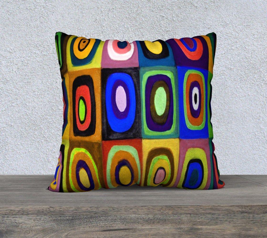 retro circles squares cushion cover
