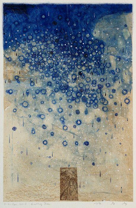 D-21.Jan.2013-Emitting Blue 43x28.5cm pen drawing, collage on Gampi paper 林孝彦 HAYASHI Takahiko 2013