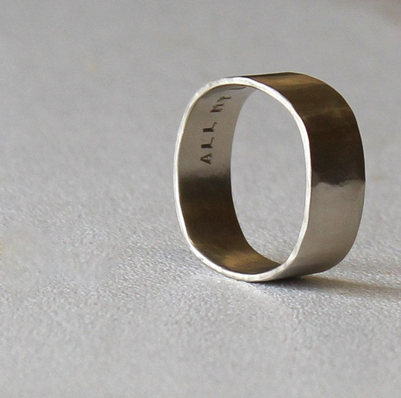Square Wedding Band White Gold Square Ring Mens Ring by tinahdee