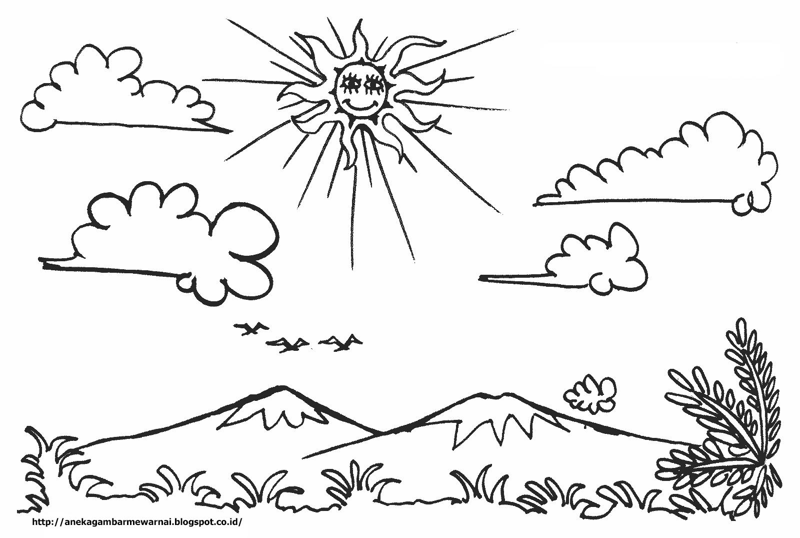 Aneka Gambar Mewarnai Gambar Mewarnai Pemandangan Langit Cerah Untuk Anak PAUD dan TK Pelajaran