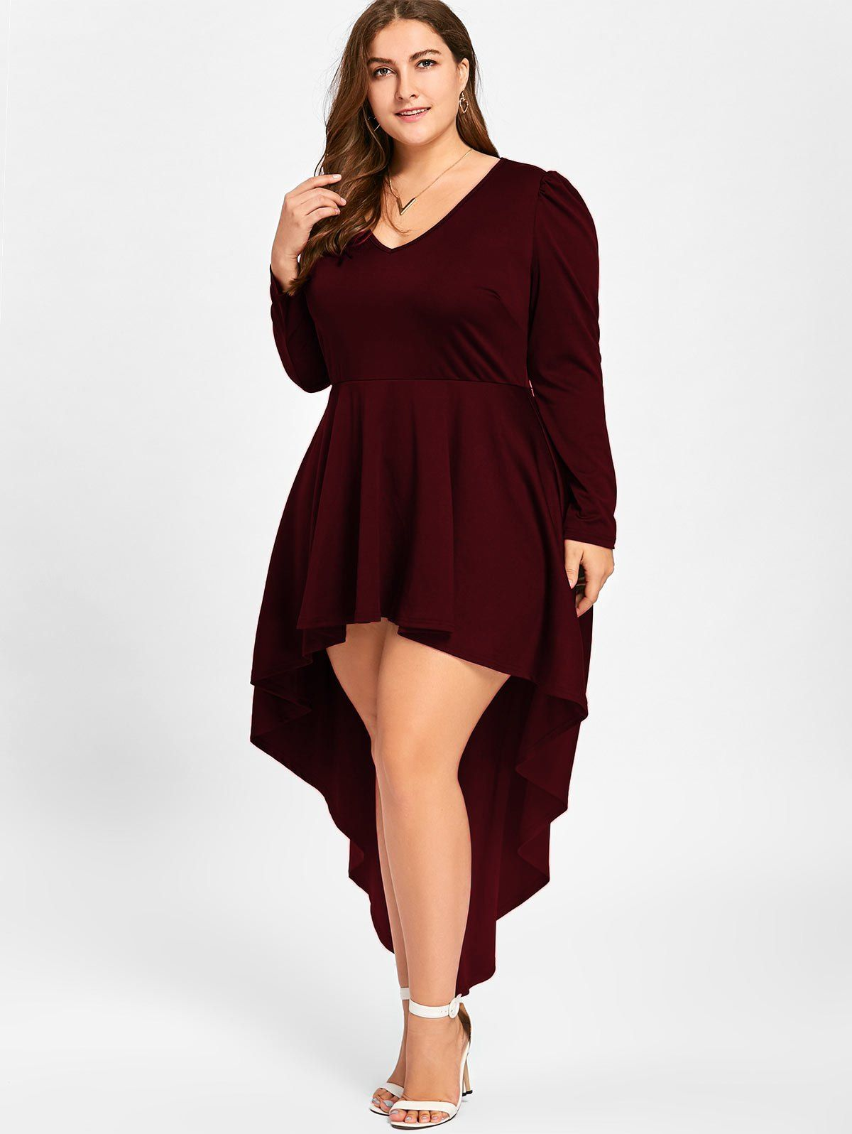 Plus Size V Neck Cocktail Dress In Wine Red 2xl Twinkledeals Com Fall Dresses To Wear To A W Classy Dress Plus Size Party Dresses Long Sleeve Cocktail Dress [ 1596 x 1200 Pixel ]