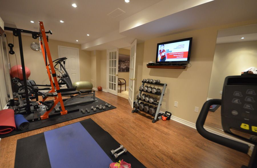 modern home gym basement space greenwich design ideas | finished basement steam room | Finished Basement Home Gyms ...