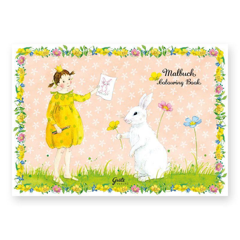 Malbuch für Mädchen, liebevoll illustriert von Daniela Drescher. Motiv: Penelope. https://www.graetz-verlag.de/malbuch-mit-penelope