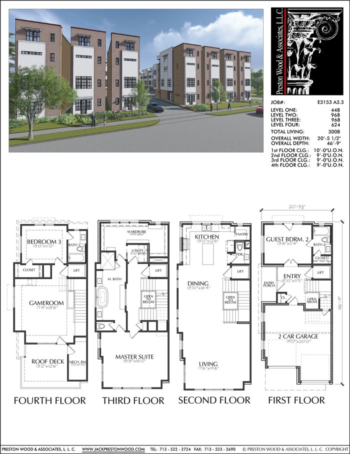 Four Story Townhouse Plan E3153 A1 1 Town House Plans Townhouse Designs Town House Floor Plan