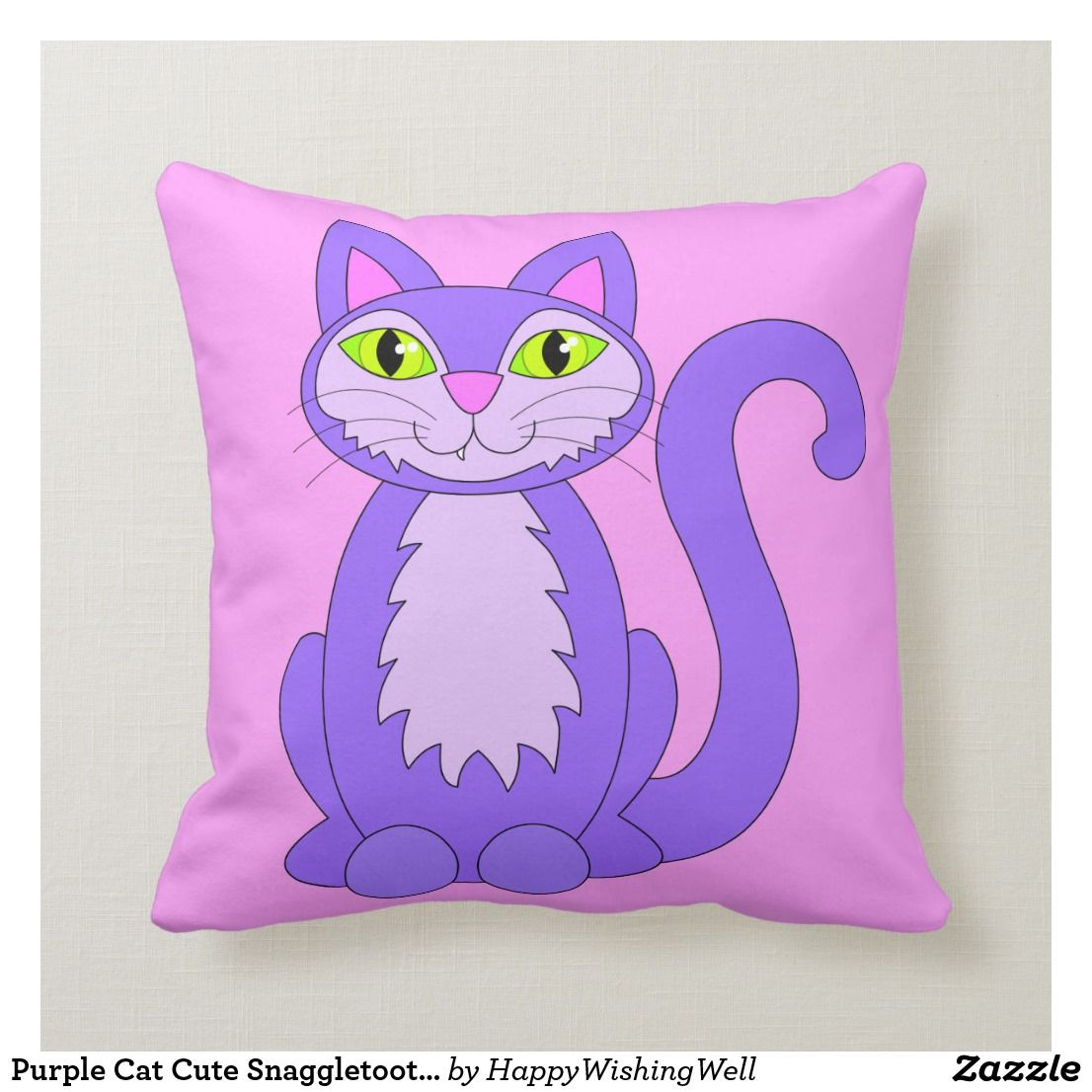 Purple Cat Pillow Cover