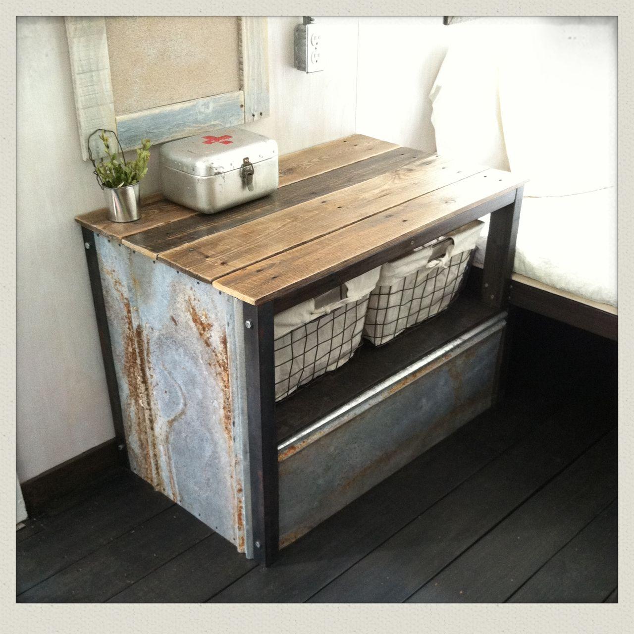 Vintage camper remodel / table/storage over wheel box