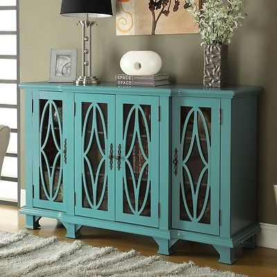 Modern Accent Buffet Sideboard Cabinet With 4 Glass Doors Carving