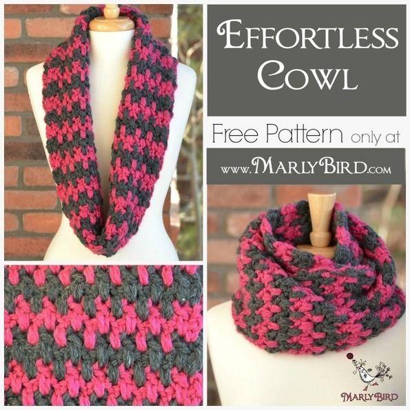 Free Crochet Cowl Pattern Effortless - Marly Bird | Bufandas de ...