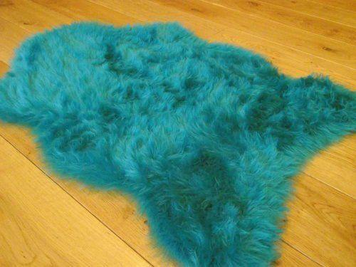 Teal Blue Faux Fur Sheepskin Style Rug 70cm X 100cm By Rugs Supermarket