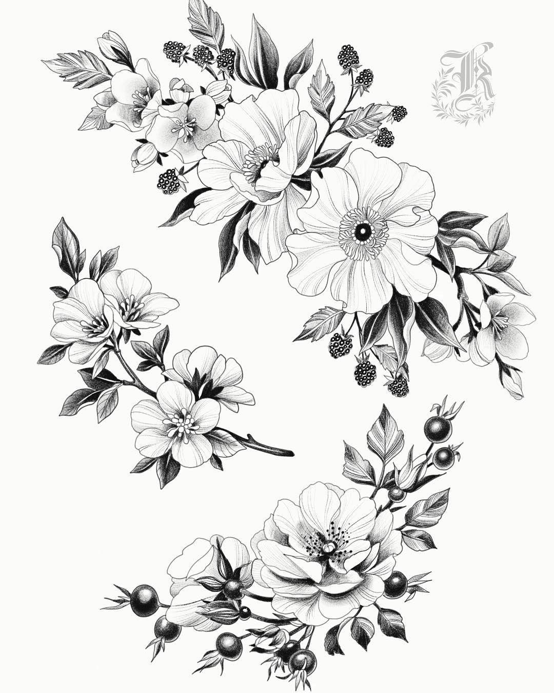 картинки тату про цветы прямая простая