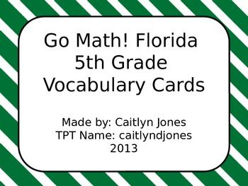 Go math florida 5th grade vocabulary cards common core word wall go math florida 5th grade vocabulary cards for common core there are 140 vocabulary cards with definitions and picturesexamples fandeluxe Gallery