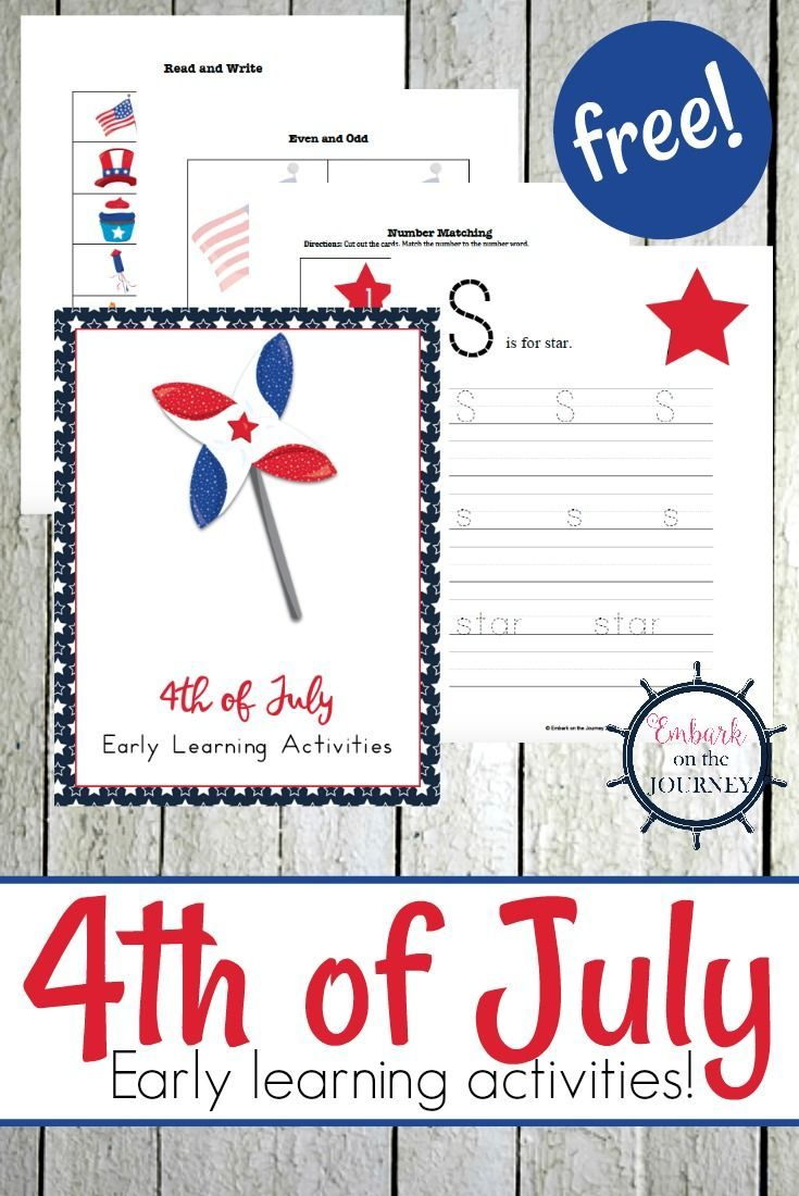 Free 4th Of July Printable Pack For Early Learners Early Learning Activities Kids Learning Activities Free Homeschool Printables [ 1100 x 735 Pixel ]