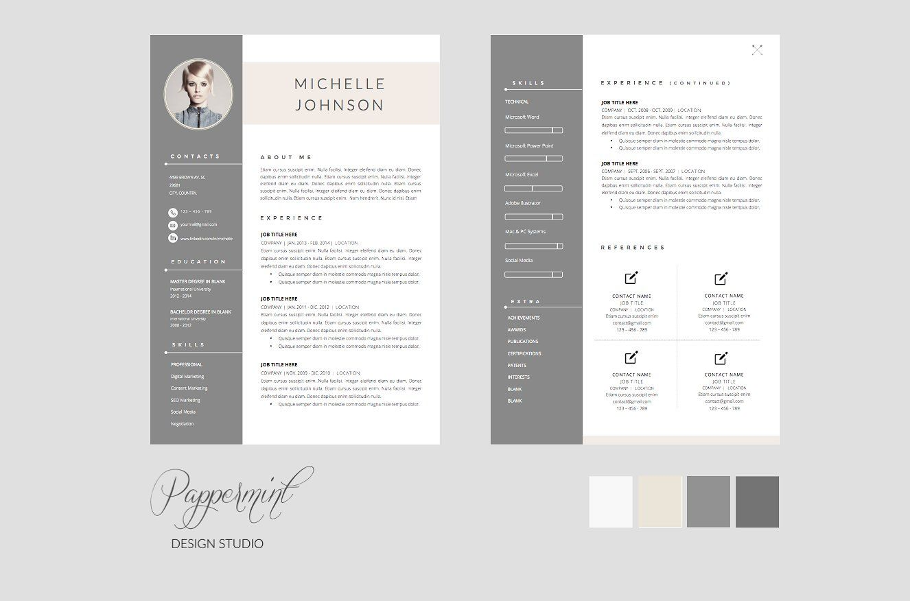 Resume Template Cover Letter Word One Page Resume Template Cv