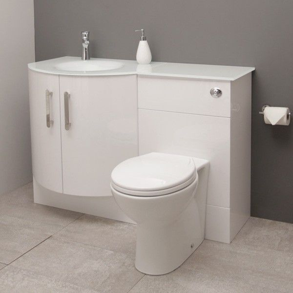 Vigo Left Hand Bow Front Combination Unit With White Basin Small Shower Room Bathroom Shower Room