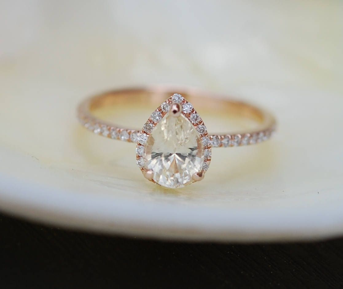 Pear engagement ring promise ring round engagement ring champagne