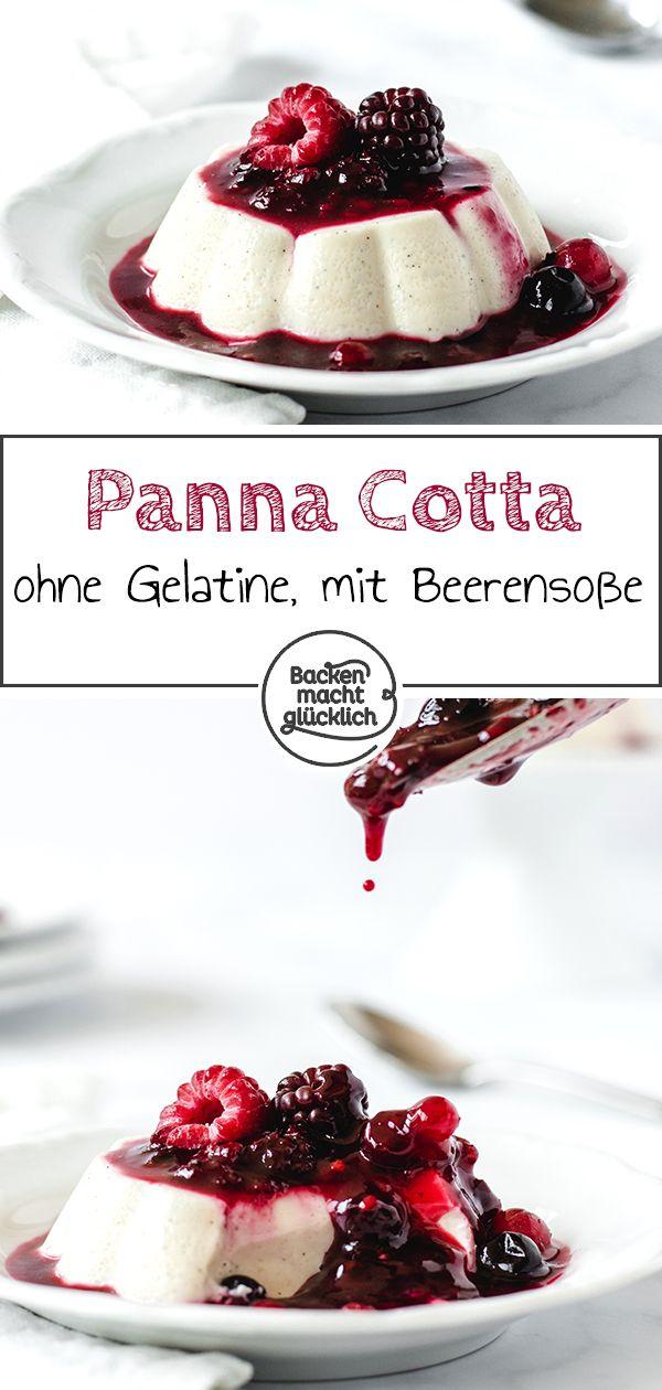 Panna Cotta ohne Gelatine mit Beeren | Backen macht glücklich #pannacotta