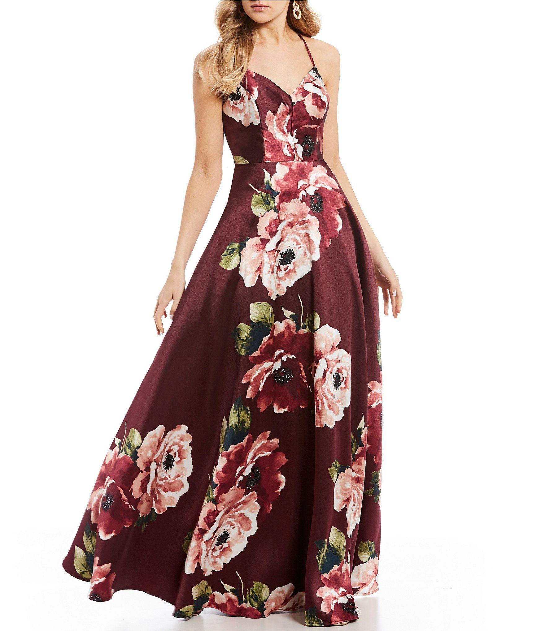 902d8dabbd4 Shop for Jodi Kristopher Floral Print Lace-Bralette Back Ball Gown at  Dillards.com. Visit Dillards.com to find clothing