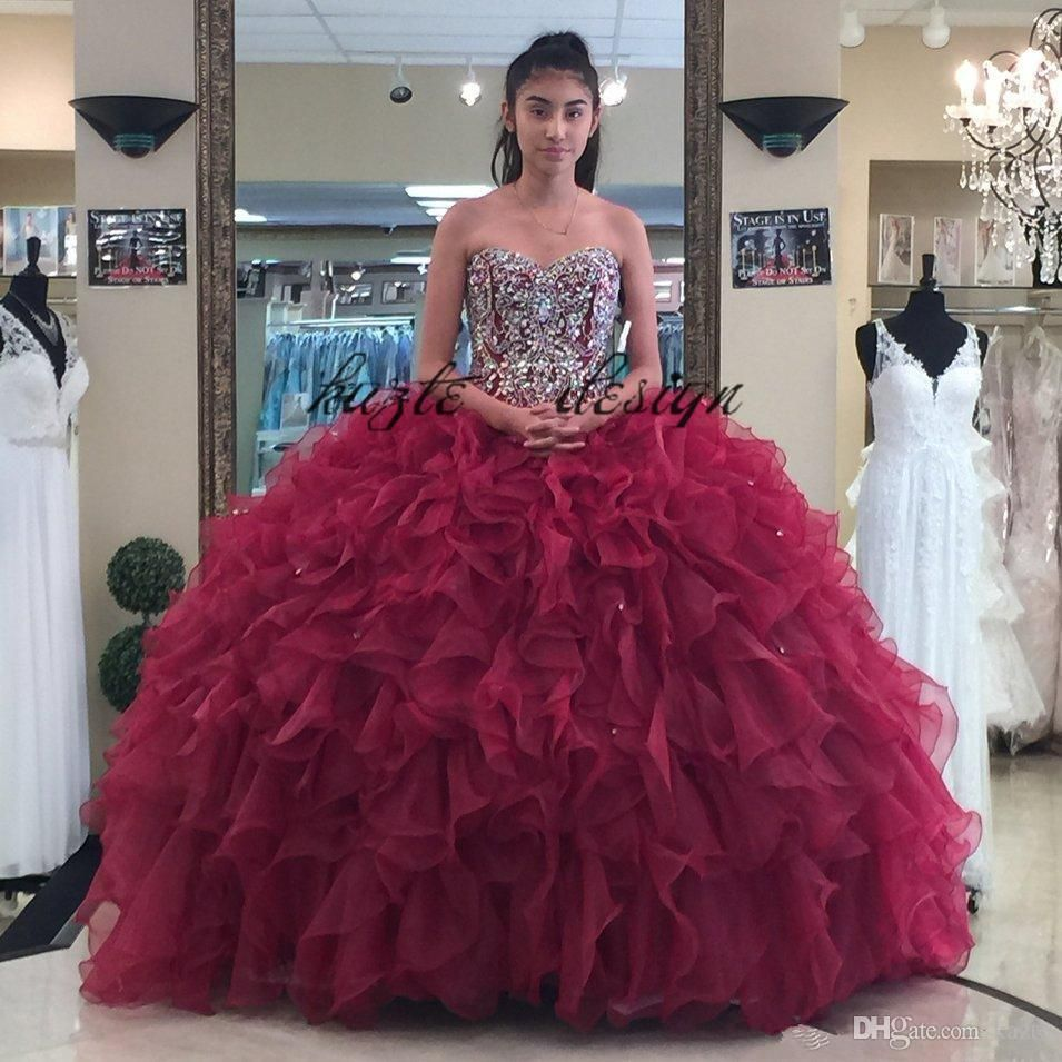 8ff3ca7073ab 2018 Burgundy Beaded Ball Gown Quinceanera Dresses Strapless Neckline Appliques  Prom Gowns Crystals Lace-up