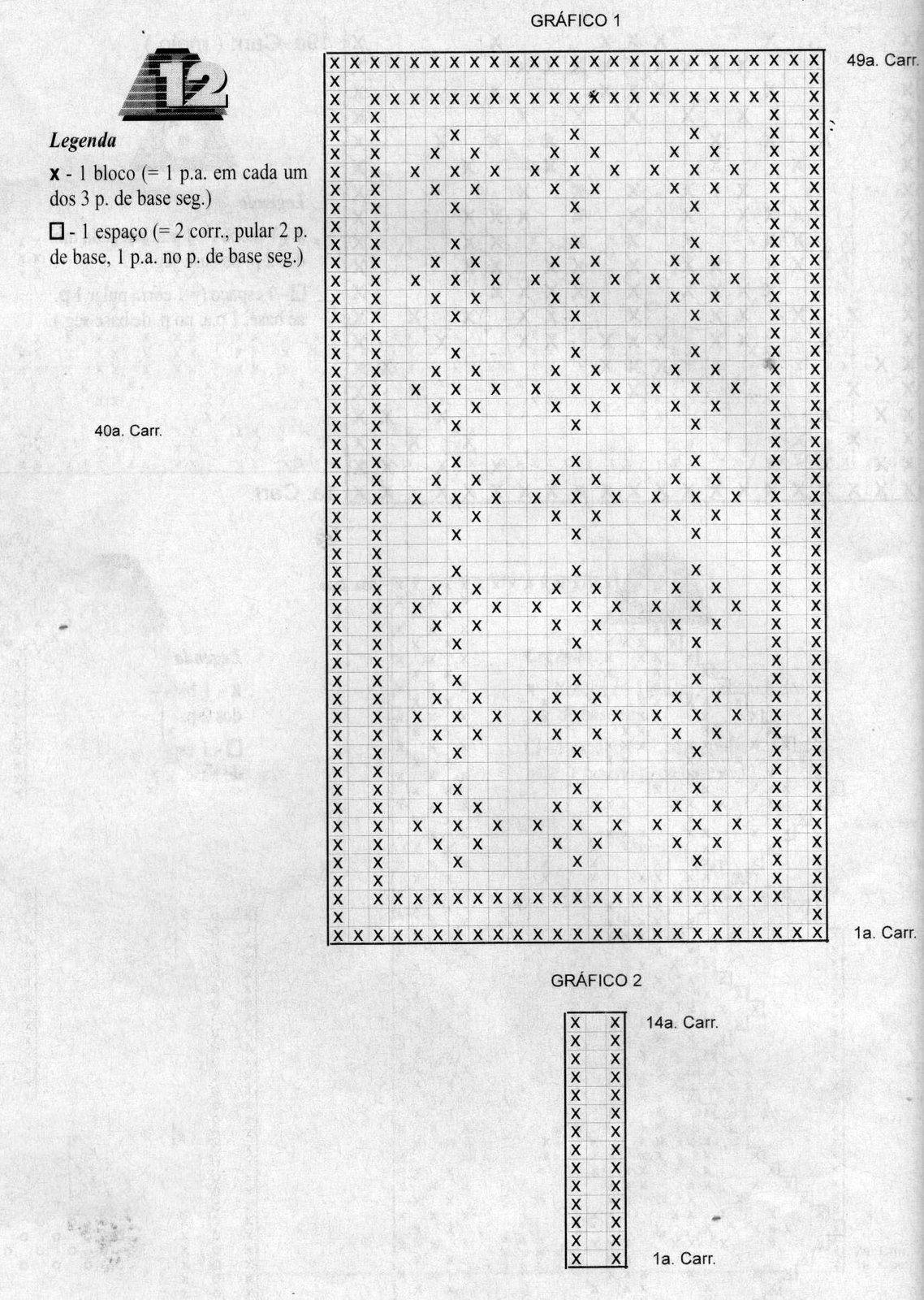 Jogo americano de croche retangular com grafico