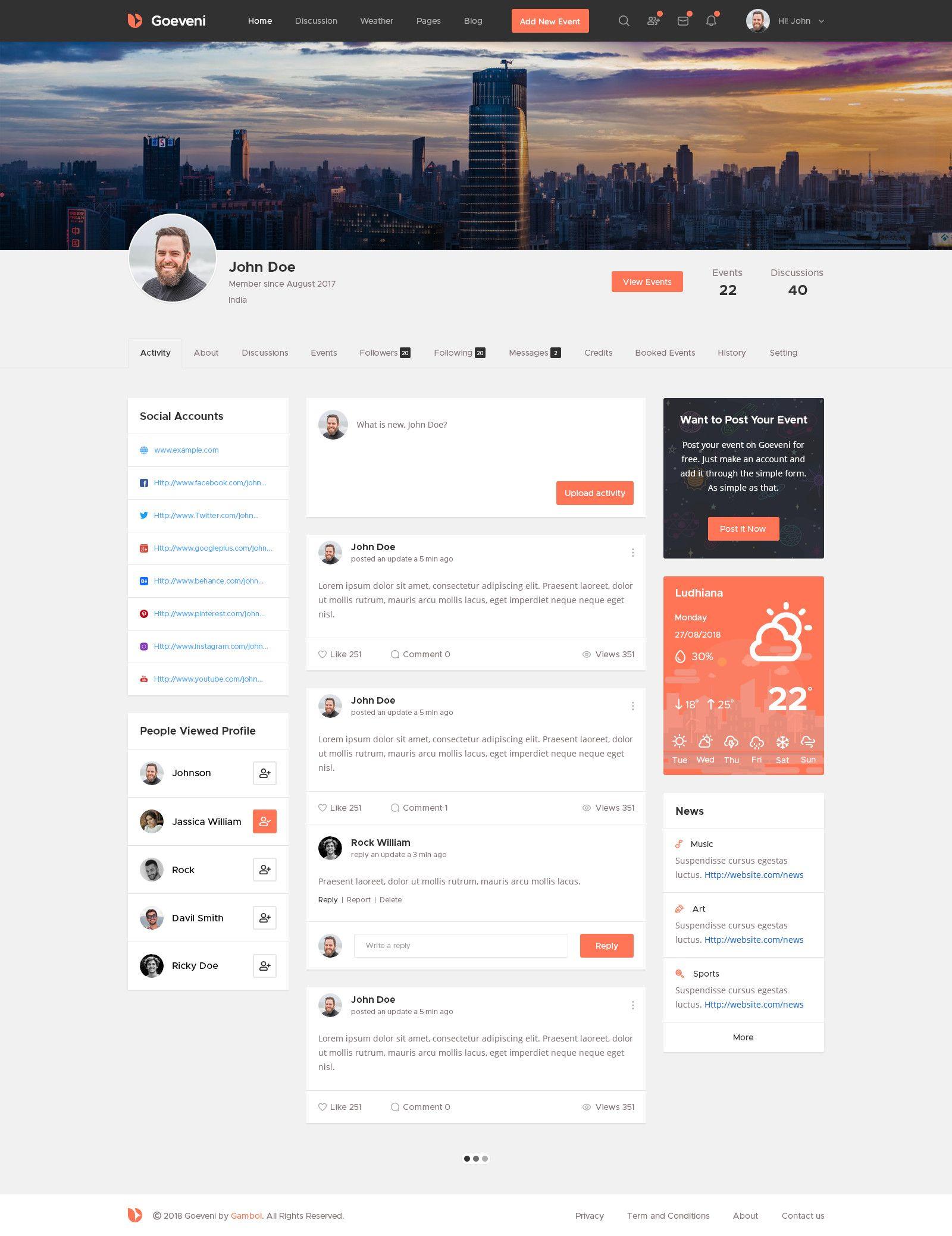 Goeveni Event Sharing Social Network Psd Template Clean Web Design Inspiration Psd Templates App Development Design