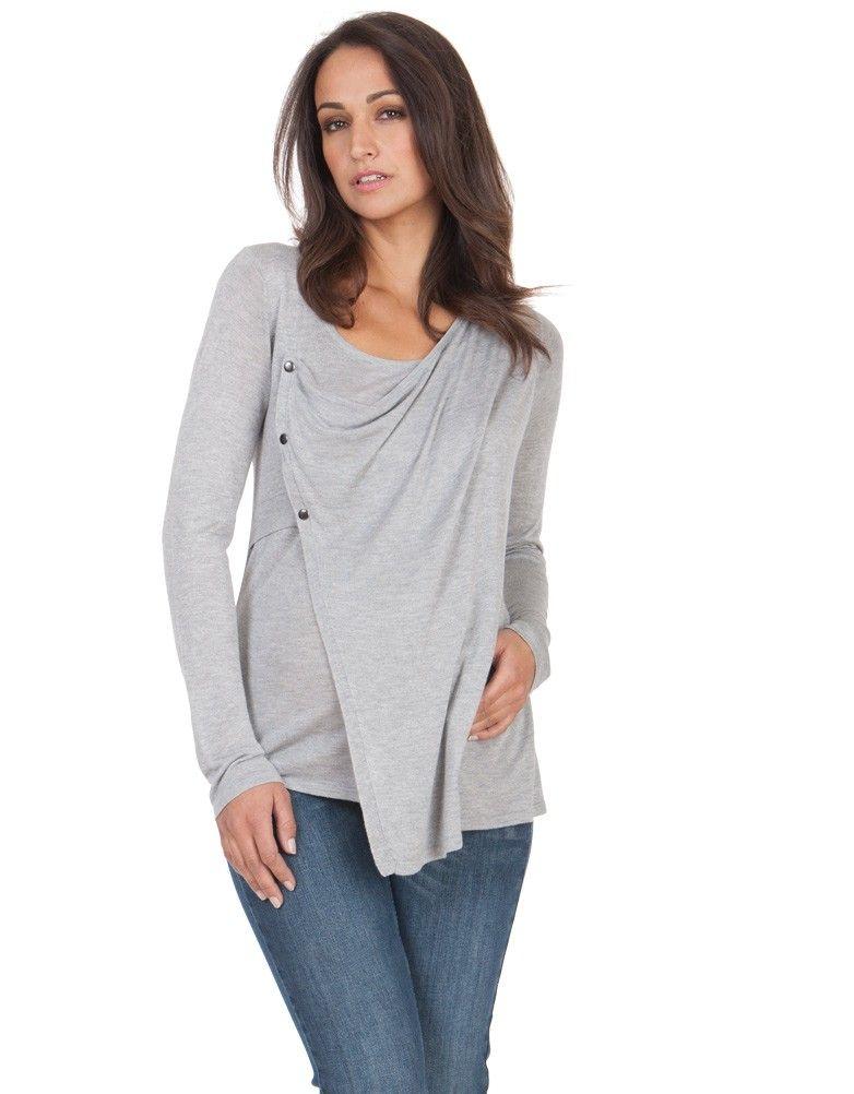 e816bb57d Gray Wrap Front Bamboo Nursing Sweater