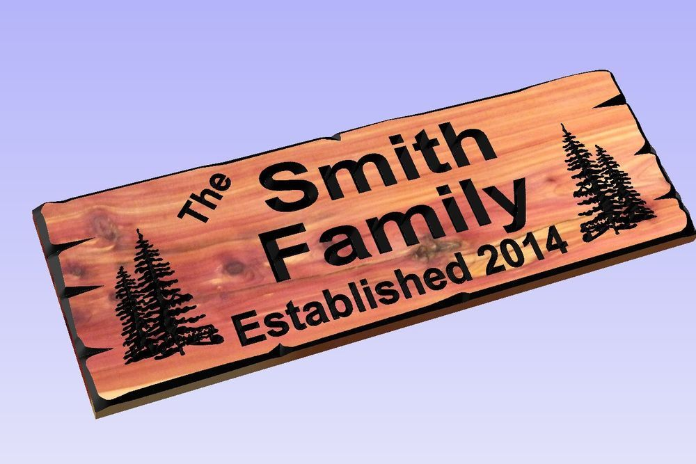 Last Name Rustic Plaque Home Decor Personalized Custom Carved Cedar Wood Sign