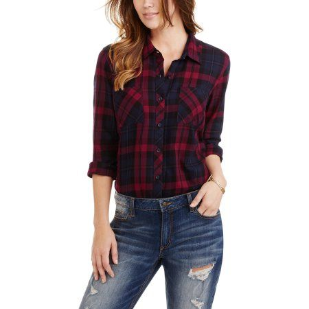 d92ed96507c8b Buy Faded Glory Women s Plaid Button Front Two-Pocket Shirt at Walmart.com
