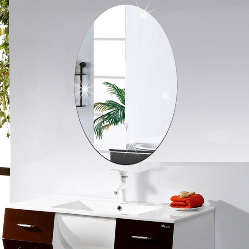 removable 3d acrylic oval mirror wall sticker mirror on wall stickers 3d id=32965