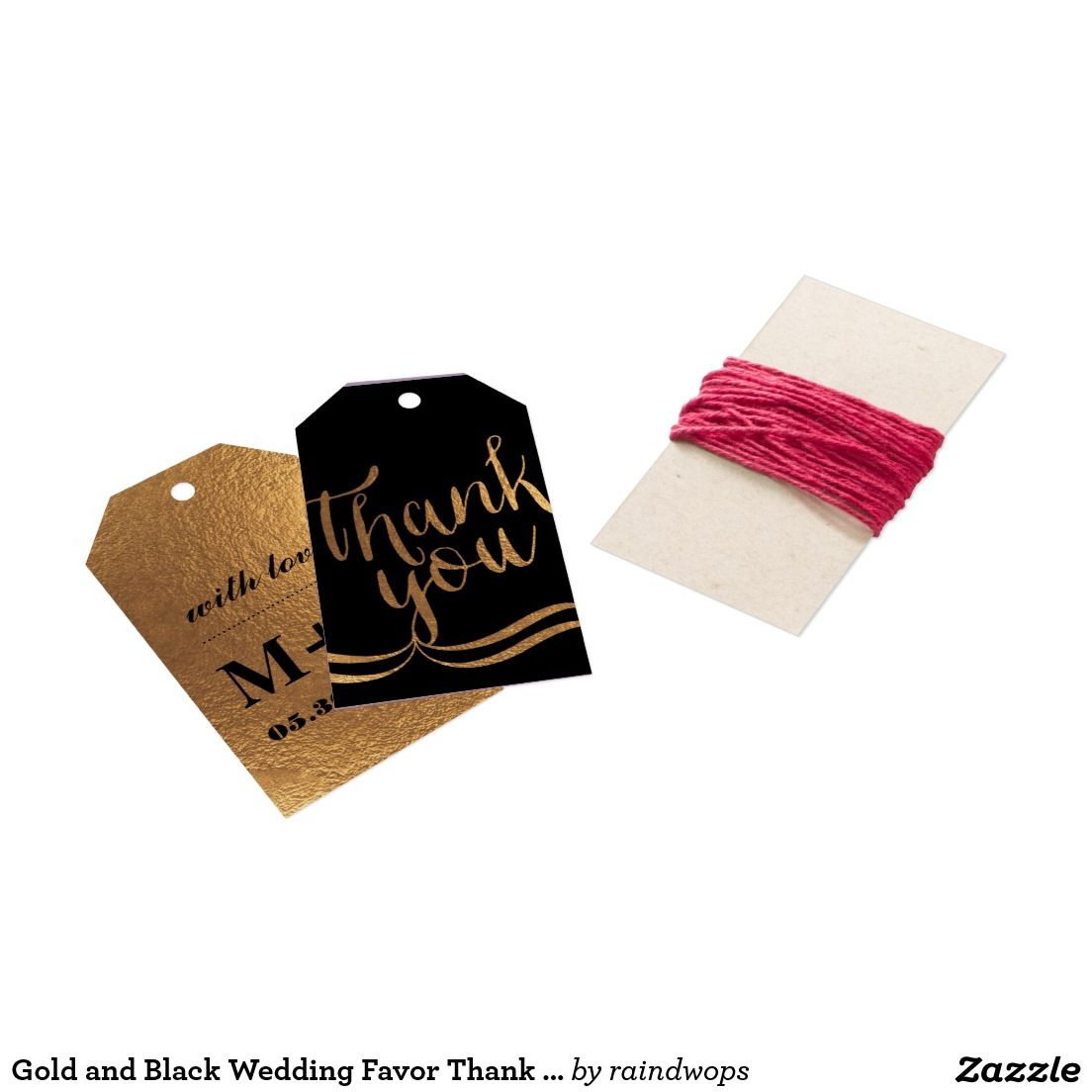 Gold and Black Wedding Favor Thank You Gift Tag | Favors, Gift and ...