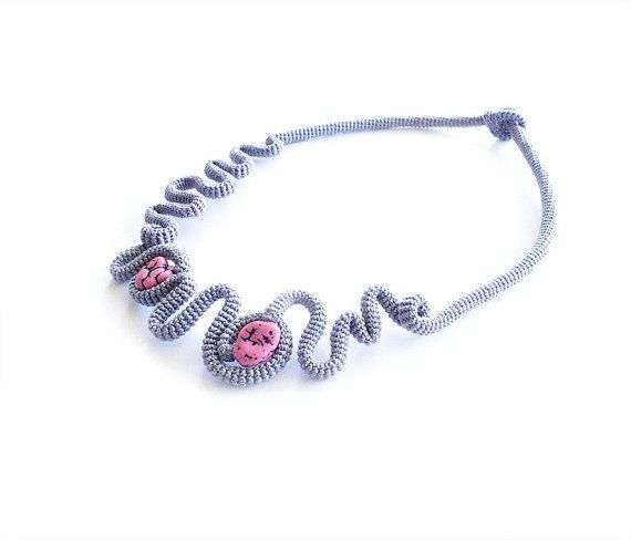 Crochet necklace fashioned out of tube string using high quality light gray cotton thread and two chunky pink magnesite nuggets. Very feminine
