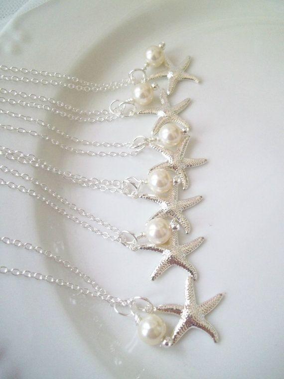 Set Of 6 Bridesmaid Necklaces Swarovski Pearls Silver