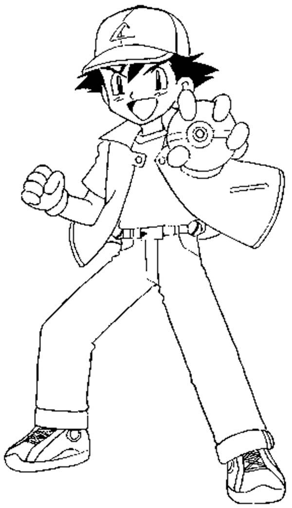 ash ketchum fighting style on pokemon coloring page