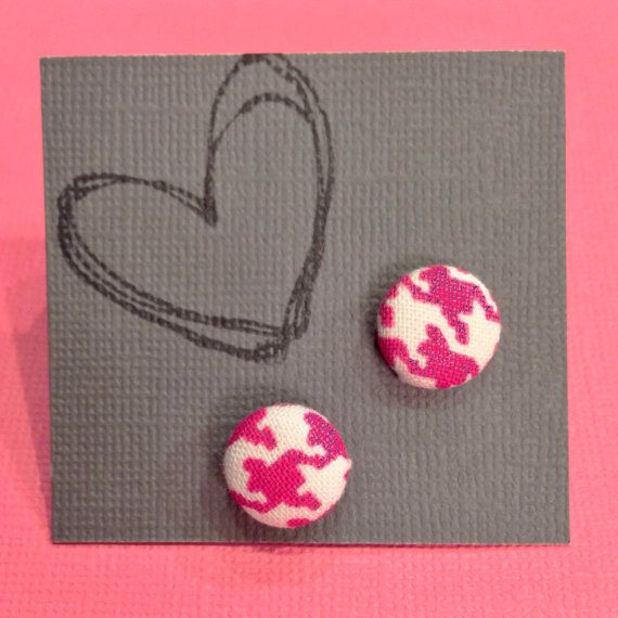 Cover Button Earrings  Pink and White Houndstooth by KDesign21 ONLY $4!!!
