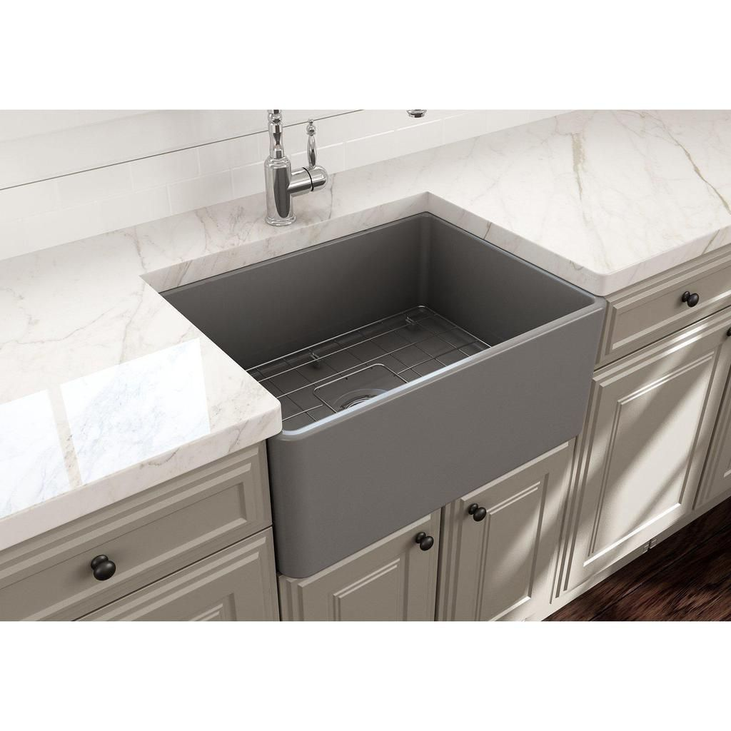 Bocchi Classico 24 White Fireclay Farmhouse Sink With Free Grid Strainer Single Bowl Kitchen Sink Fireclay Farmhouse Sink Sink
