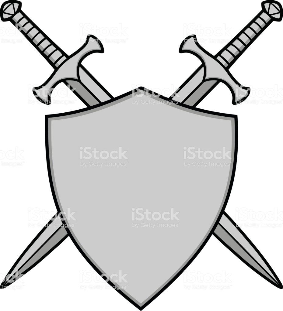 A Vector Illustration Of Crossed Swords And Shield Espadas Imajenes Para Dibujar Escudo