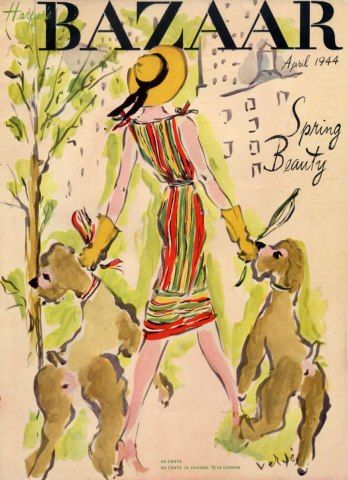 """April 1944 cover of """"Harper's Bazaar """"Magazine. """"Spring Beauty"""".. Pretty girl walking two brown poodles."""