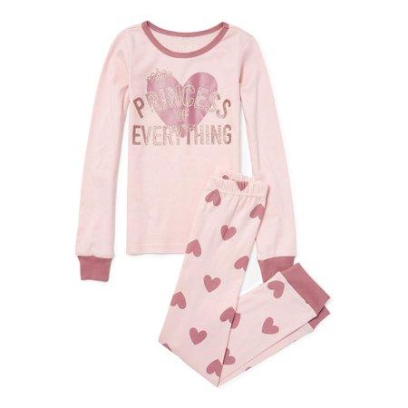 The Children/'s Place Big Girls/' Long Sleeve Princess Top and Pajama Pant Set
