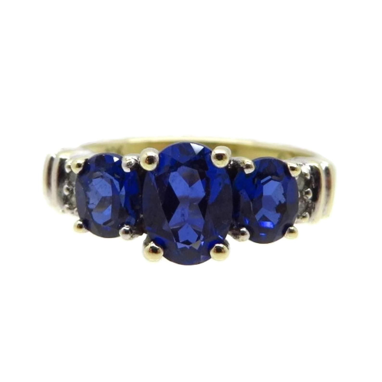 Synthetic Sapphire Diamond Ring Vintage 10k Yellow Gold Multi Stone Ring Size 7 Mothers Day Gift With Images Sapphire Diamond Ring Vintage Vintage Diamond Rings