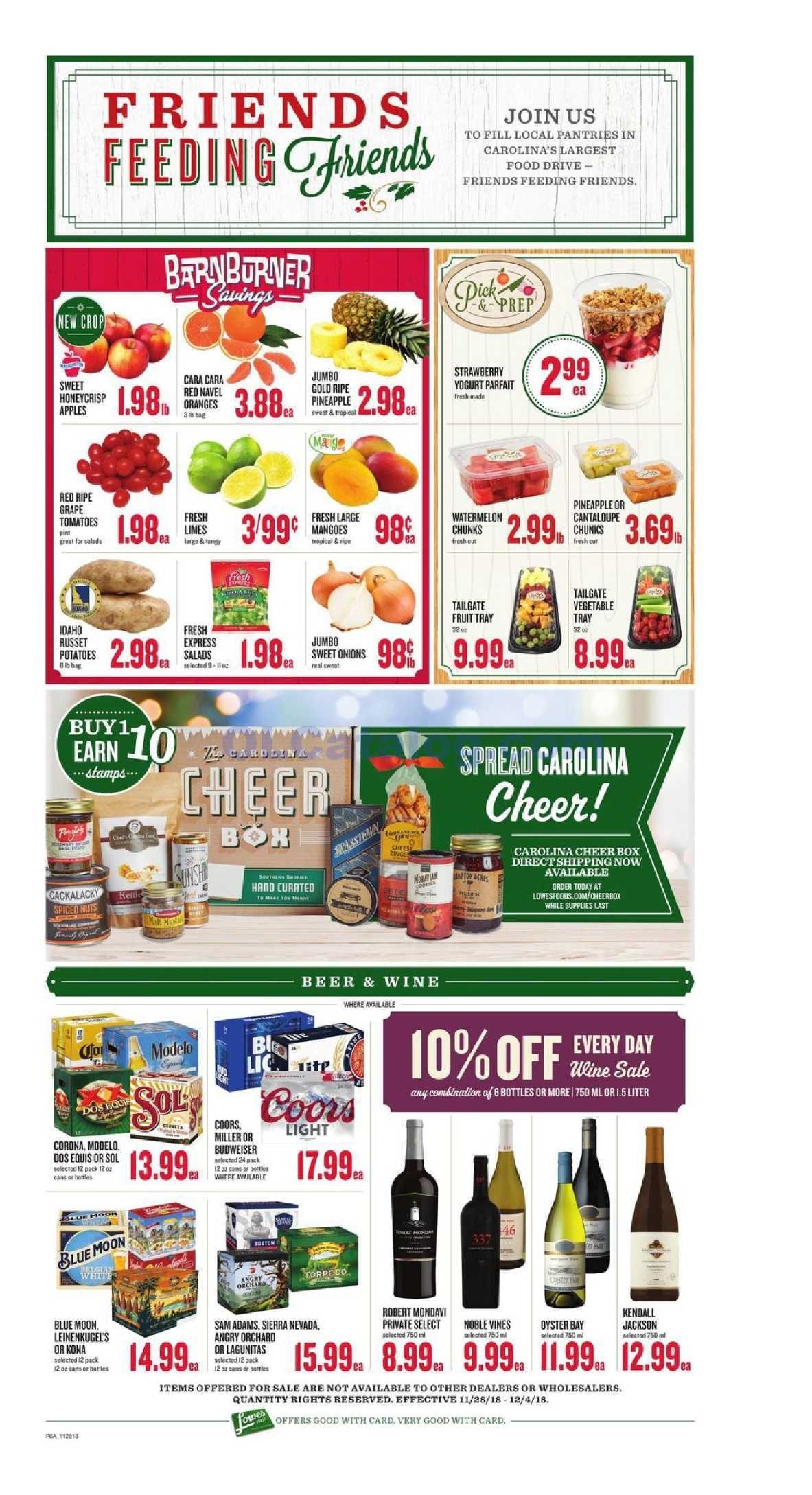 Lowes foods Weekly Ad November 28 December 4, 2018. View