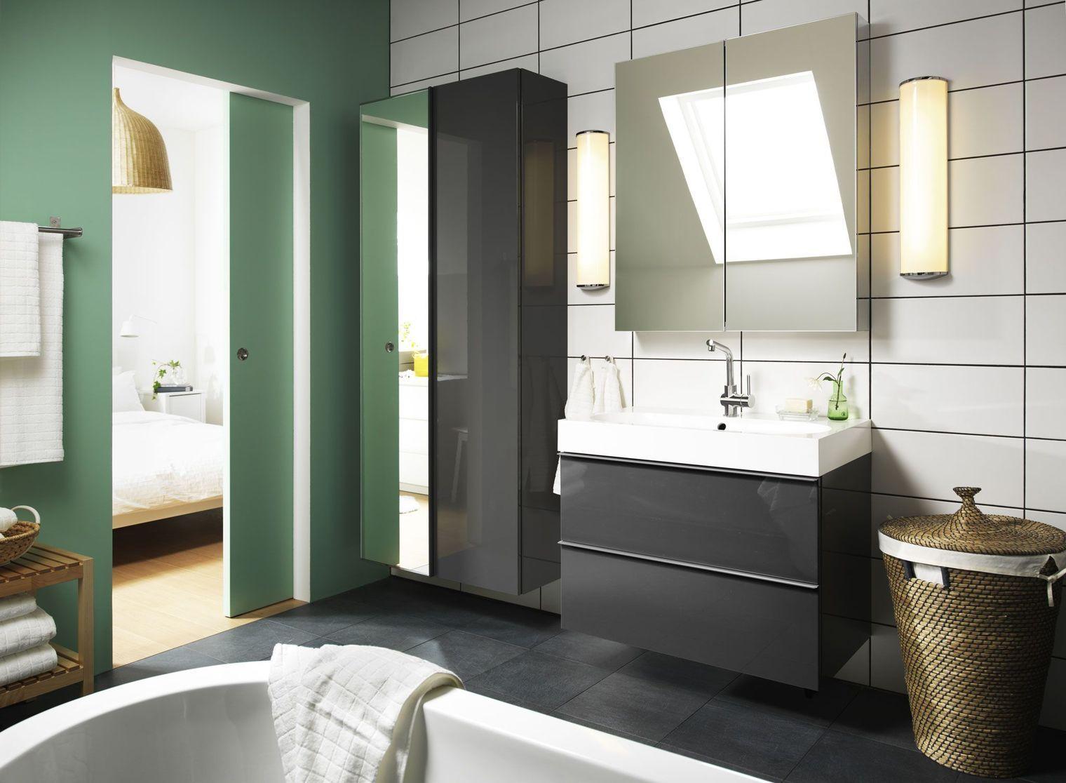 Meuble salle bain bois design ikea lapeyre salle - Ikea salle de bain petit espace ...