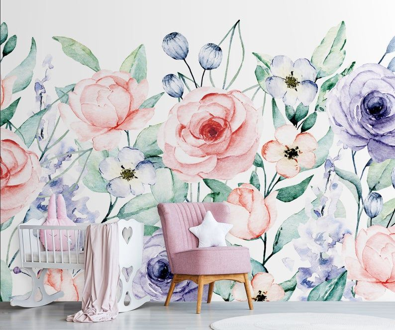 Nursery Wallpaper With Watercolor Flowers Peel And Stick Etsy In 2020 Watercolor Wallpaper Floral Wall Art Nursery Wallpaper