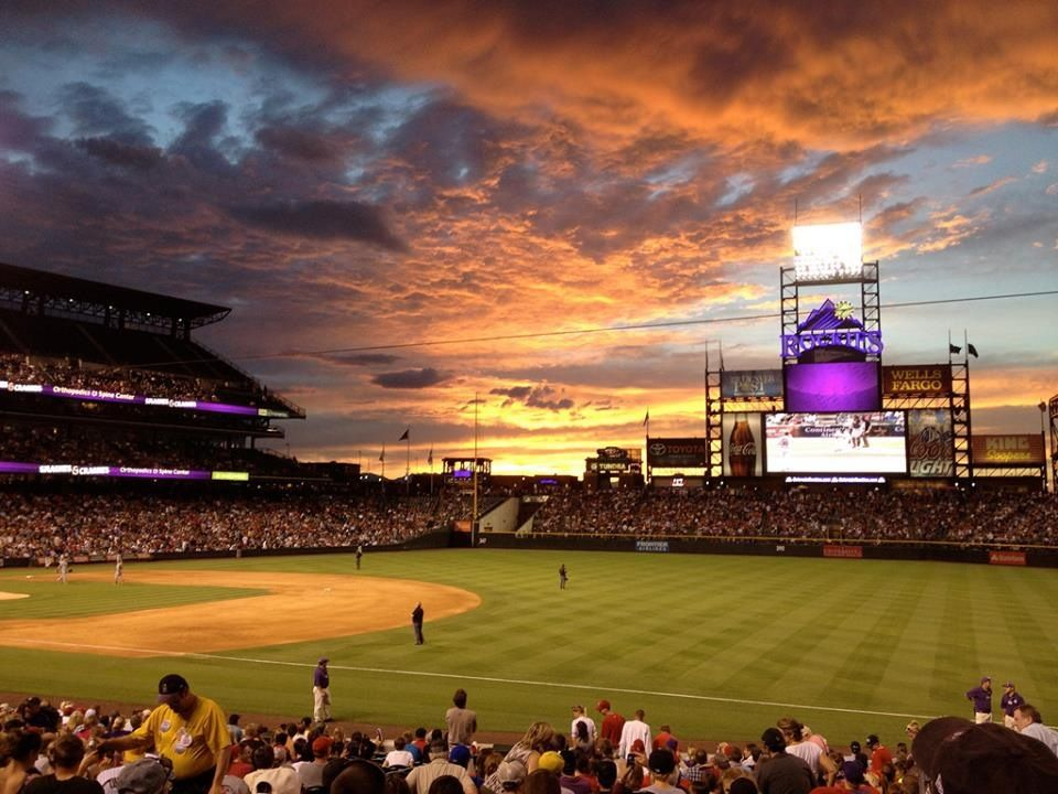 Sunset Over Coors Field Colorado Rockies Baseball Colorado