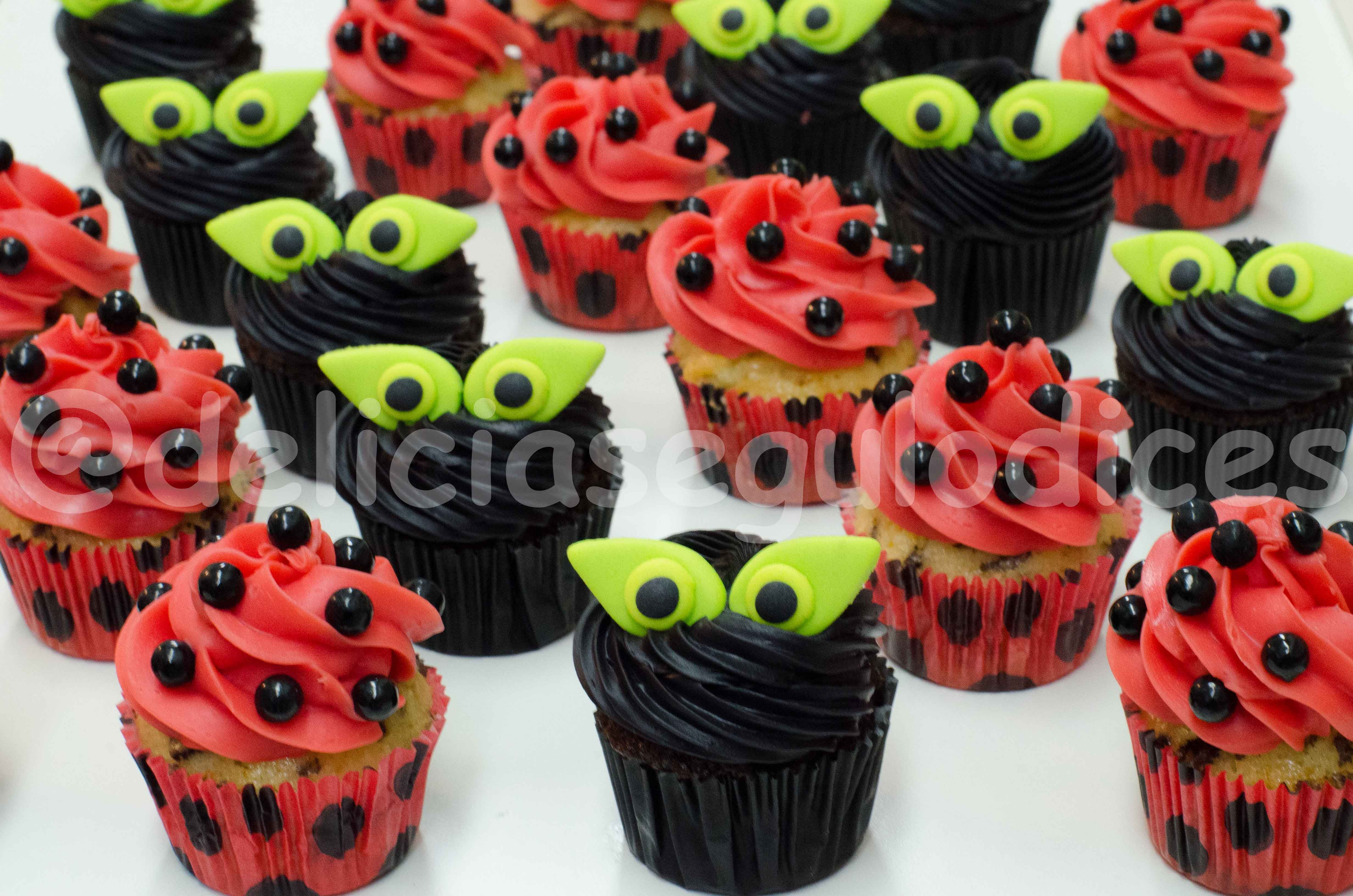 Miraculous Ladybug Ladybug Birthday Cupcakes Miraculous Ladybug Party Ladybug Birthday Party