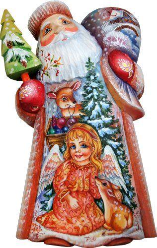 G Debrekht Little Angel Santa Carved Wood And Hand Painted Figurine Santaclaus Santa Claus Christma Santa Figurines Christmas Figurines The Holiday Aisle