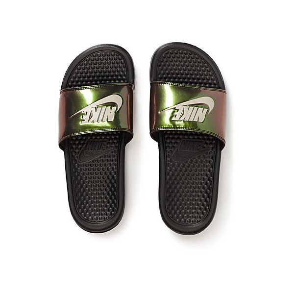 6bffb5ebbd48 Nike Benassi metallic slides ( 23) ❤ liked on Polyvore featuring shoes