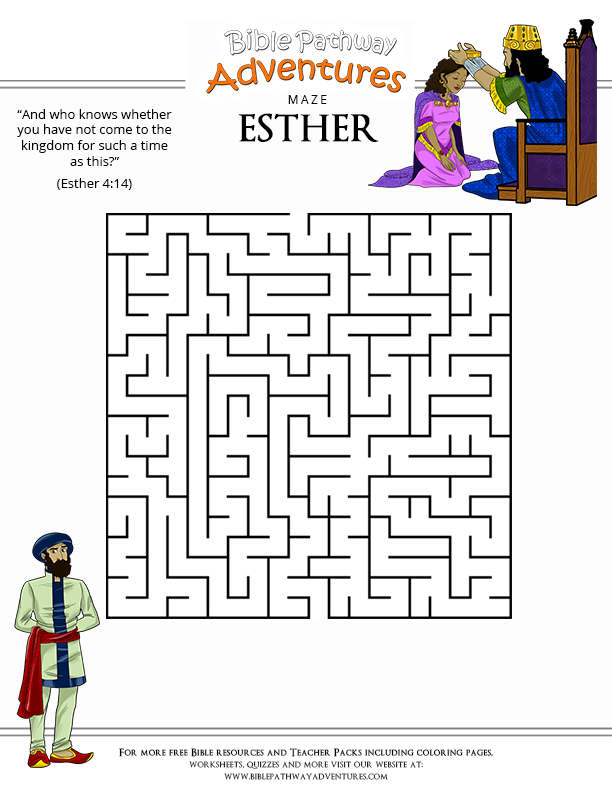 Free Bible Maze Puzzle: Esther in Shushan | v | Pinterest | Bible ...