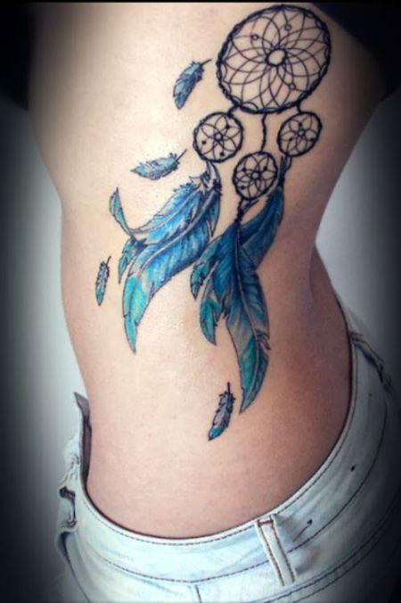 AtrapaSueños y Plumas Azules - Tatuajes para Mujeres